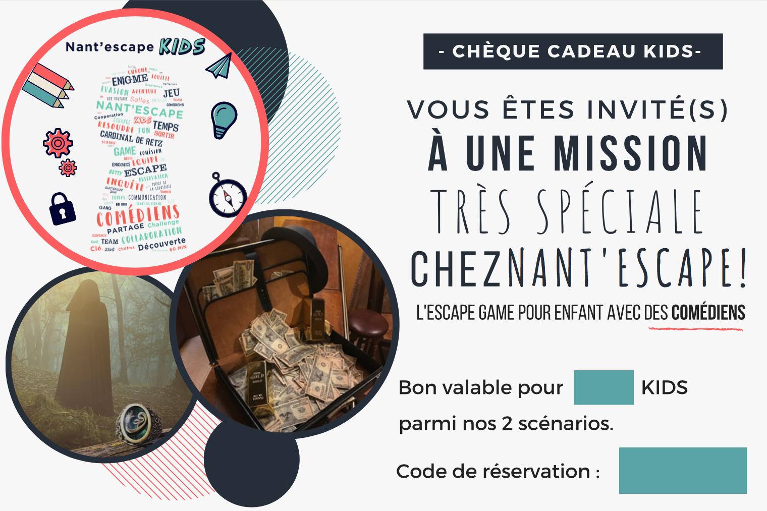 offrir - Nantes - chèque cadeau - enfants - kids - nant'escape - escape game - comédiens